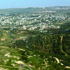 תצלום אווירי של נוף יהודה ושומרון. Aerial shot of the Judea and Samaria area.